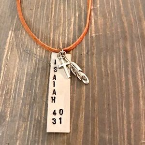 "Hand stamped ""ISAIAH 40:31"" necklace on suede cord"